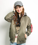 LIL MURAL(リルミューラル)/ STAMP HOOD RV MA-1 JACKET -3.COLOR- -Lady's-