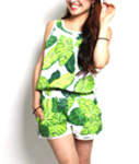 LIL MURAL(リルミューラル)/ BIG LEAF ROMPERS -WHITE- -Lady's-
