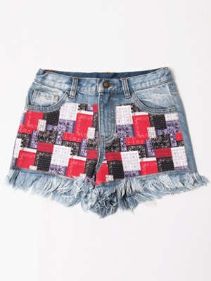 LIL MURAL(リルミューラル)/ PAISLEY PATCHWORK DENIM SHORTS -3.COLOR- -Lady's-