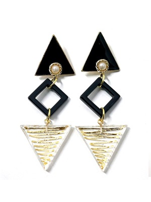 BOW(ボウ)/ CLEAR TRIANGLE PIERCE -Lady's-