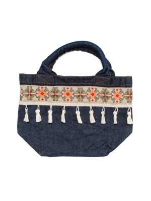 Tome2H(トミトエイチ)/ EMBROIDERY TAPE LUNCH BAG -DENIM- -Lady's-