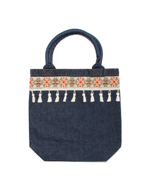 Tome2H(トミトエイチ)/ EMBROIDERY TAPE TOTE BAG -DENIM- -Lady's-