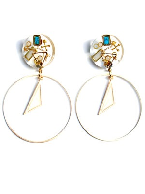 BOW(ボウ)/ TURQUOISE CLEAR HOOP PIERCE -Lady's-