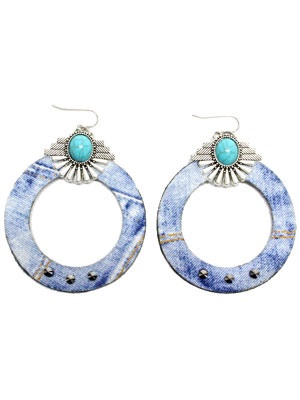 BOW(ボウ)/ DENIM CONCHO HOOP PIERCE -Lady's-