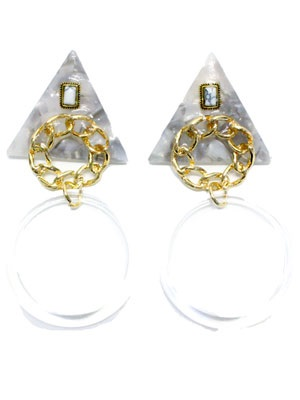BOW(ボウ)/ TRIANGLE CLEAR HOOP PIERCE -Lady's-