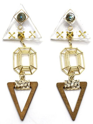 BOW(ボウ)/ CLEAR BROWN TRIANGLE PIERCE -Lady's-