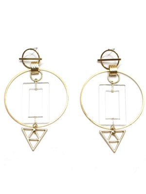BOW(ボウ)/ CLEAR SQUARE HOOP PIERCE -Lady's-