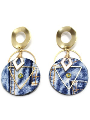 BOW(ボウ)/ GOLD ROUND DENIM PIERCE -Lady's-