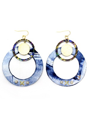 BOW(ボウ)/ DENIM HOOP PIERCE-Lady's-