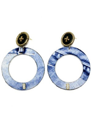 BOW(ボウ)/ DENIM HOOP PIERCE -Lady's-