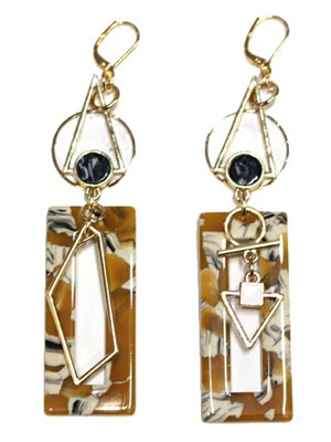 BOW(ボウ)/ YELLOW MARBLE SQUARE PIERCE -Lady's-