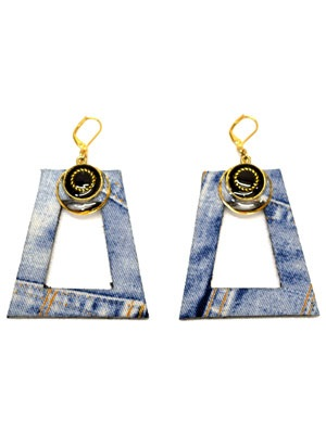 BOW(ボウ)/ BLACK DENIM SQUARE PIERCE -Lady's-