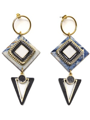 BOW(ボウ)/ HOOP DENIM TRIANGLE PIERCE -Lady's-