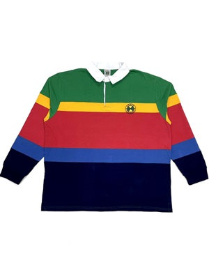 CROSS COLORS(クロスカラーズ)/ COLLEGIATE STRIPE RUGBY SHITS -MULTI-