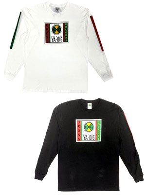 CROSS COLORS(クロスカラーズ)/ LABEL LOGO L/S T-SHIRT with STRIPE SLEEVES