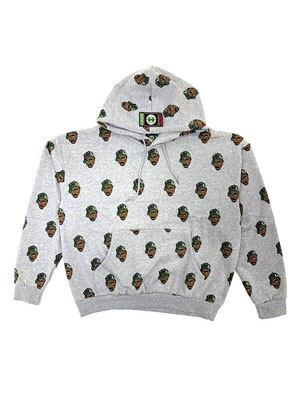 CROSS COLORS(クロスカラーズ)/ TUPAC ALLOVER PRINT HOODIE -HEATHER GREY-