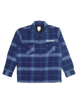 POT MEETS POP(ポットミーツポップ)/ STASH FLANNEL LOOP COLLAR SHIRT -NAVY-