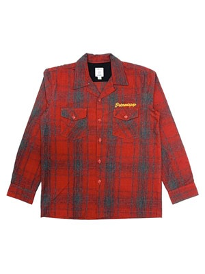 POT MEETS POP(ポットミーツポップ)/ STASH FLANNEL LOOP COLLAR SHIRT -RED-